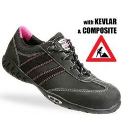 Safety Jogger zwarte met roze lage schoen kevlar